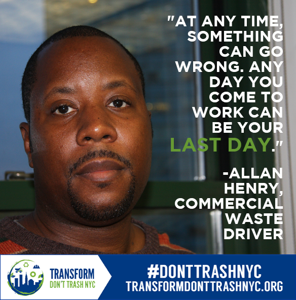 "Photo: Allan Henry Text: ""At any time, something can go wrong. Any day you come to work can be your last day"" -Allan Henry, commercial waste driver"