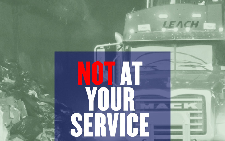 "A green filtered photo of a garbage truck at a waste facility with trash, with a blue box that says ""Not (red letters) at Your Service: A Look at How New York City's Commercial Waste System is Failing Its Small Businesses"""